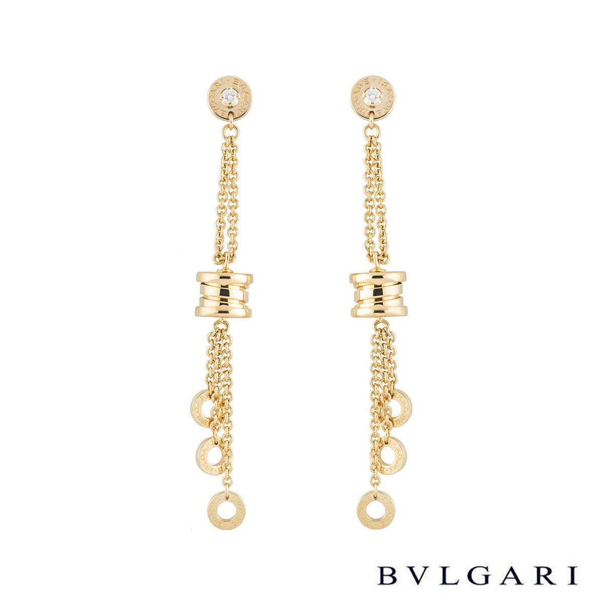 Bvlgari Yellow Gold Diamond B.Zero1 Earrings